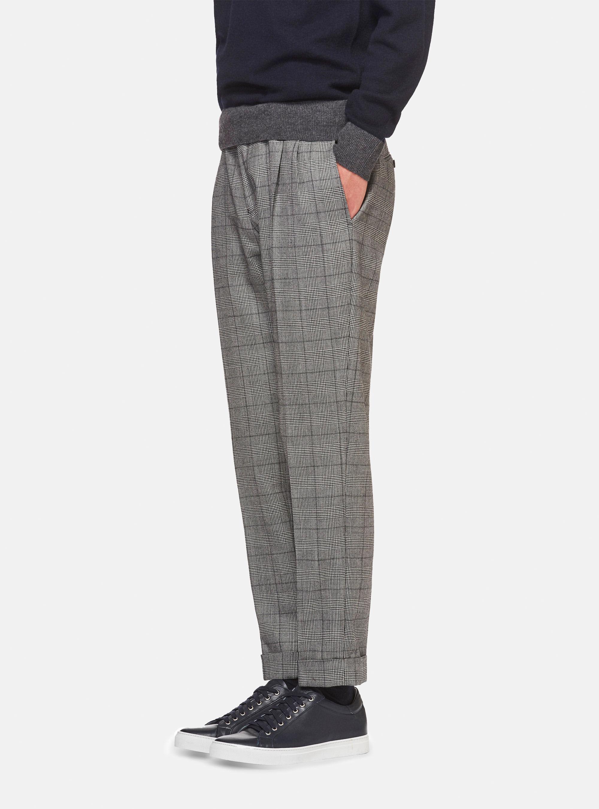Pantaloni con doppia pinces in principe di galles